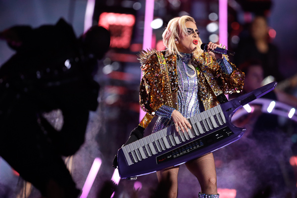 Lady Gaga performs during the halftime show of the NFL Super Bowl 51 football game between the New England Patriots and the Atlanta Falcons Sunday, Feb. 5, 2017, in Houston. (AP Photo/Darron Cummings)