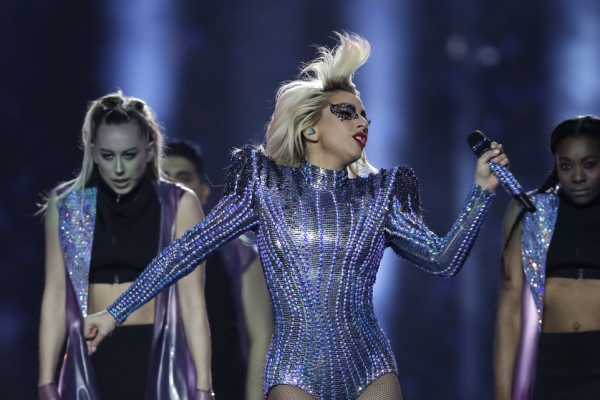 Lady Gaga performs during the halftime show of the NFL Super Bowl 51 football game between the New England Patriots and the Atlanta Falcons Sunday, Feb. 5, 2017, in Houston. (AP Photo/Matt Slocum)